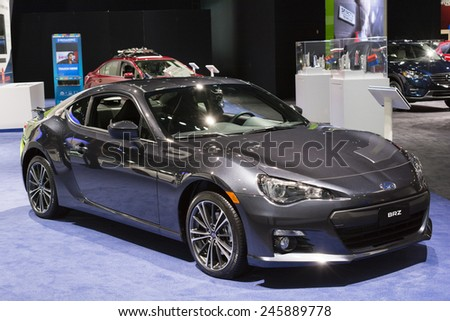 DETROIT, MI, USA - JANUARY 12, 2015: Subaru BRZ on display during the 2015 Detroit International Auto Show at the COBO Center in downtown Detroit.