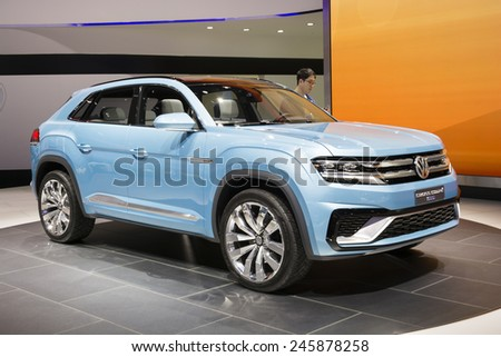 DETROIT, MI, USA - JANUARY 13, 2015: Volkswagen Cross Coupe concept on display during the 2015 Detroit International Auto Show at the COBO Center in downtown Detroit.