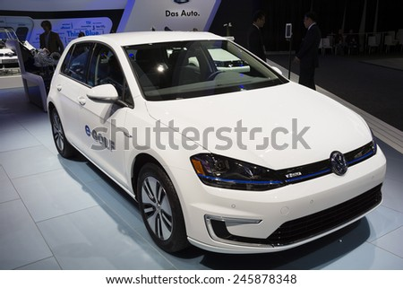 DETROIT, MI, USA - JANUARY 12, 2015: Volkswagen e-Golf all electric car on display during the 2015 Detroit International Auto Show at the COBO Center in downtown Detroit.