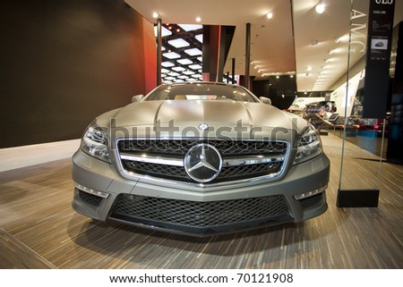 DETROIT, MICHIGAN - JANUARY 18: A new CLS63 AMG Mercedes Benz is on display at the 2011 North American International Auto Show on January 18, 2011 in Detroit, Michigan.