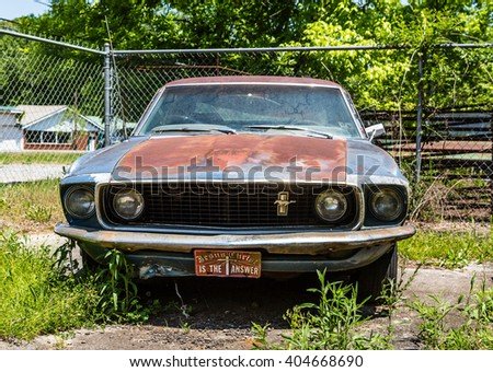 DETROIT, MICHIGAN - May 11, 2015: The Mustang is an American automobile manufactured by Ford. It was originally based on the platform of the second generation North American Ford Falcon, a compact car - stock photo