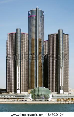 DETROIT, OCTOBER 9, 2012:  General Motors Building, GM Headquarters,Renaissance Center, Oct 9,2012, Downtown Detroit. - stock photo