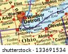 Detroit on the map - stock photo