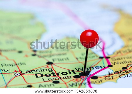 Detroit pinned on a map of USA  - stock photo
