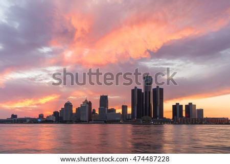 Detroit River Red Sky