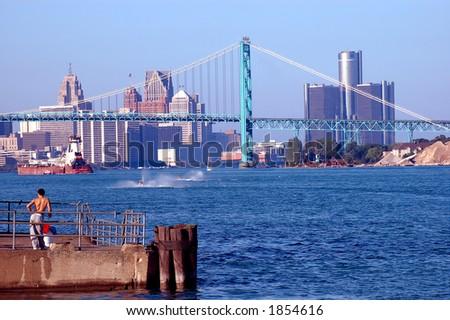 Detroit River Skyline - stock photo