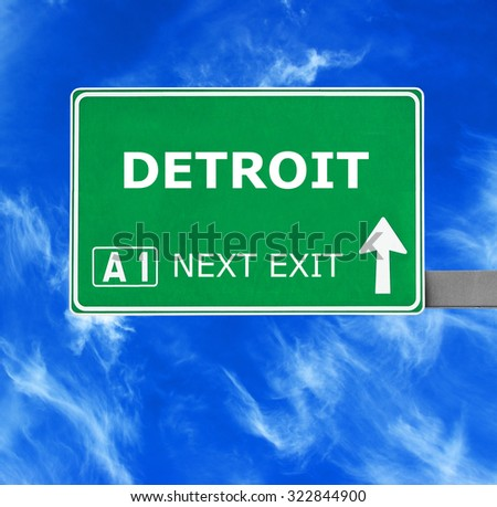 DETROIT road sign against clear blue sky - stock photo