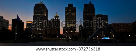 Detroit skyline at sunset - stock photo
