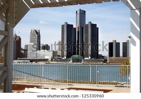 Detroit Skyline Framed - stock photo