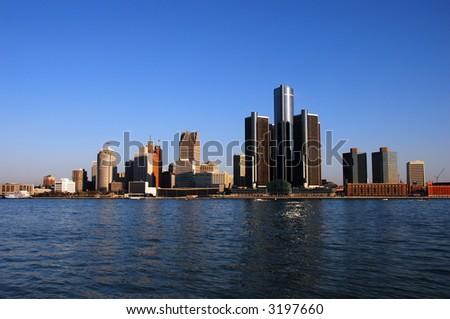 Detroit skyline in daytime - stock photo