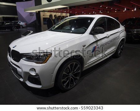 DETROIT, US - JANUARY 9,2017: BMW X4 M40i on display during the North American International Auto Show at the Cobo Center in downtown Detroit.