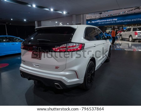 DETROIT, US - JANUARY 15, 2018: Ford Edge ST on display during the North American International Auto Show at the Cobo Center in downtown Detroit.