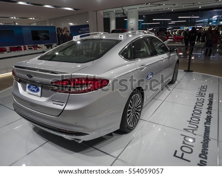 DETROIT, US - JANUARY 9,2017: Ford Fusion autonomous car on display during the North American International Auto Show at the Cobo Center in downtown Detroit.