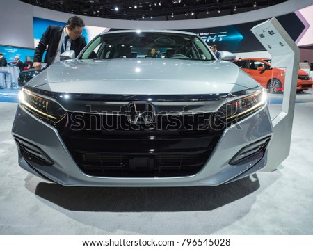 DETROIT, US   JANUARY 15, 2018: Honda Accord On Display During The North
