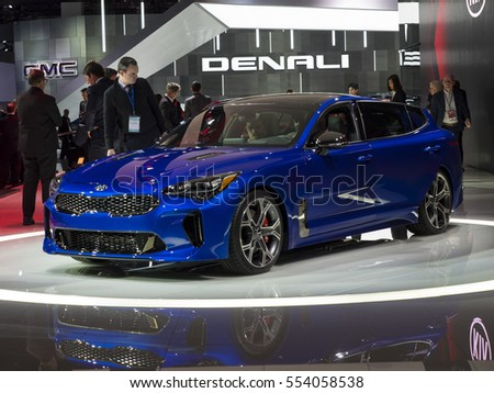 DETROIT, US - JANUARY 9,2017: Kia Stinger on display during the North American International Auto Show at the Cobo Center in downtown Detroit.