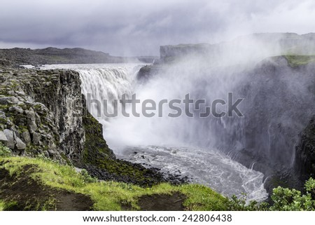 Dettifoss, a waterfall with enormous volume in north Iceland - stock photo