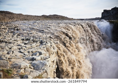 Dettifoss Waterfall in Iceland at overcast weather. Horizontal shot - stock photo