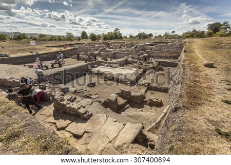DEULTUM, BULGARIA - SEPTEMBER  11, 2012: Archaeological excavation of the roman town Deultum in Debelt