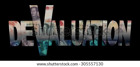 Devaluation text with Chinese yuan illustration - stock photo