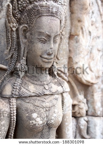 Devata at Bayon in Angkor Thom - Siem Reap, Cambodia - stock photo