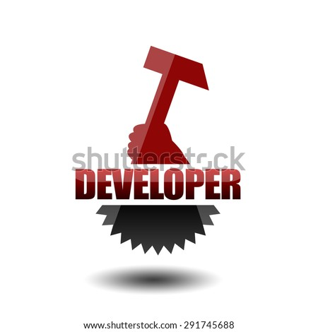 Developer icon with hammer and gear - stock photo
