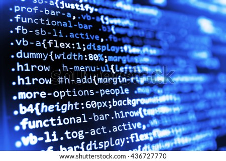 Developer working on program codes in office. Source code photo. Programmer developer screen. Computer program. Developer working on software codes in office. Software background.   - stock photo
