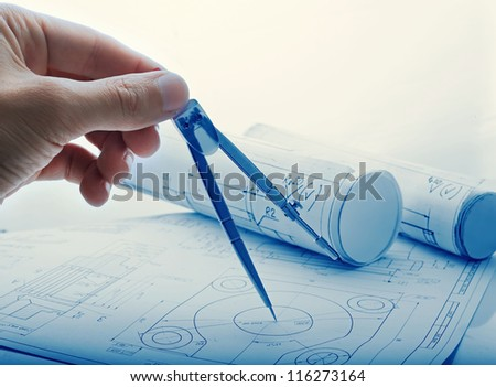 Developing engineering project - stock photo