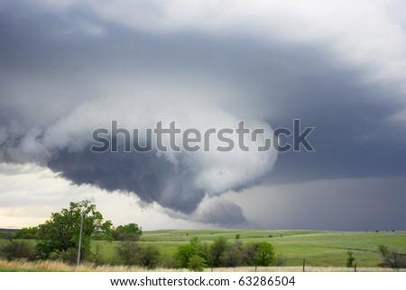 Developing tornado in Kansas field April 29 2010. - stock photo