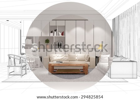 Development and planing of living room with CAD wireframe mesh and color (3D Rendering) - stock photo