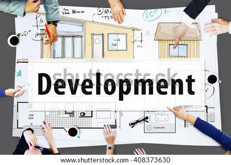 Construction build architecture design concept stock photo development blueprint project layout concept malvernweather Choice Image