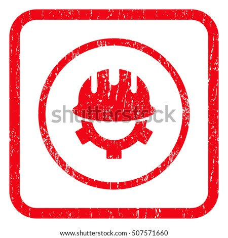 Development Helmet rubber seal stamp watermark. Icon symbol inside rounded rectangular frame with grunge design and dust texture. Unclean glyph red ink sticker on a white background.