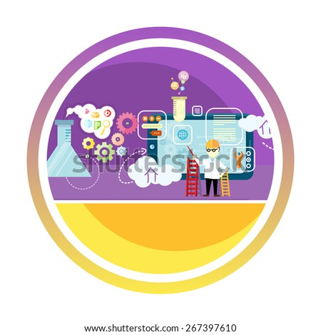 Development mobile apps laboratory concept with item icons. Raster version - stock photo