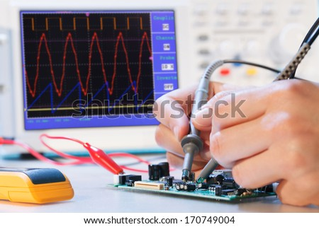 development of an electronic micro processor - stock photo