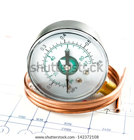 development of pressure measure system. Manometer and pipe - stock photo