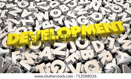 Development Process Word Letters Developing Product Stock