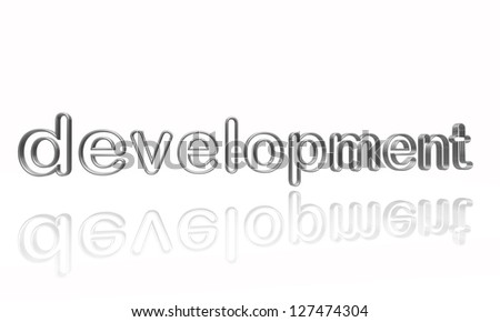 development text - 3d isolated silver metal wire letters with reflection - stock photo