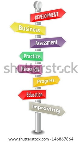 DEVELOPMENT - word cloud - colored signpost - NEW TOP TREND - stock photo