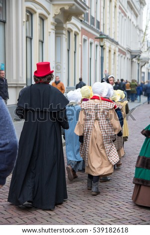 DEVENTER NETHERLANDS; characters at the Dickens festival on 17 december 2016. More than 950 characters from the famous books of Charles Dickens relives in Deventer