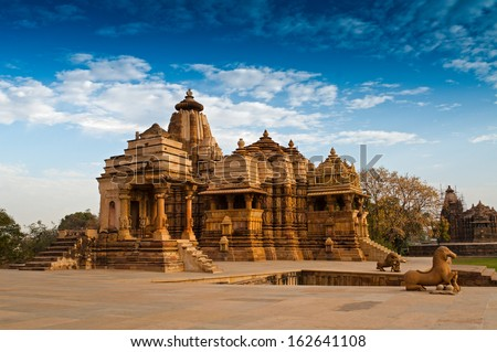Devi Jagdambi Temple, dedicated to Parvati, Western Temples of Khajuraho. it's an UNESCO world heritage site - popular amongst tourists all over the world. - stock photo