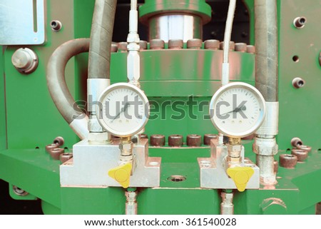 Device for measuring pressure at the factory - stock photo