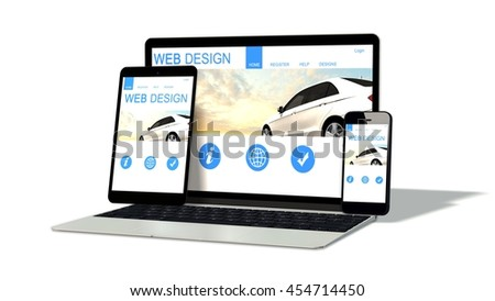 devices responsive with responsive website design isolated on white - 3d rendering