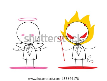 devil and angel  - stock photo