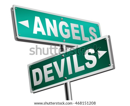 devil and angel good or evil bad heaven and hell road sign with text arrow 3D illustration