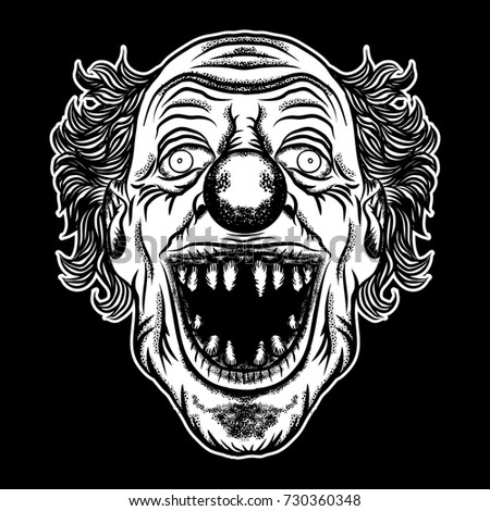 Devil clown head illustration. Nightmare inspired satanic influence clown face with mohawk, dark twist face gesture. Possessed by demon smiling mascot. Blackwork adult flesh tattoo concept.