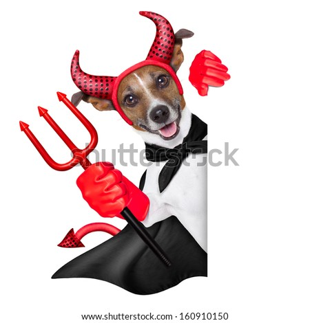 devil dog behind a blank white banner - stock photo