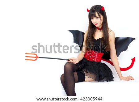 devil girl cosplay Halloween woman sexy glamour - stock photo