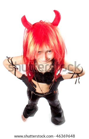 Devil girl. Devils carnival  costume. Isolated. Above - stock photo