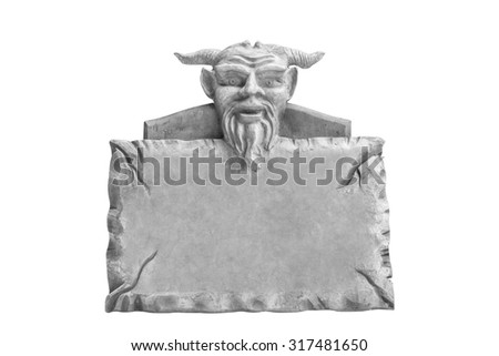 Devil head with stone sign board isolated on white background with clipping path - stock photo
