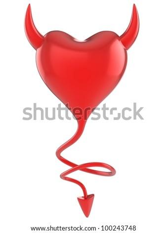 devil heart 3d concept - stock photo