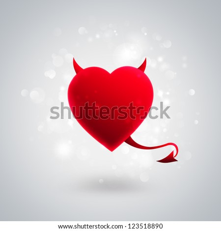 Devil heart on silver shiny background - stock photo